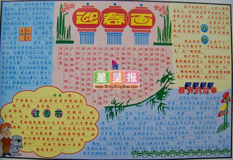 春节小报版面设计图 迎春画