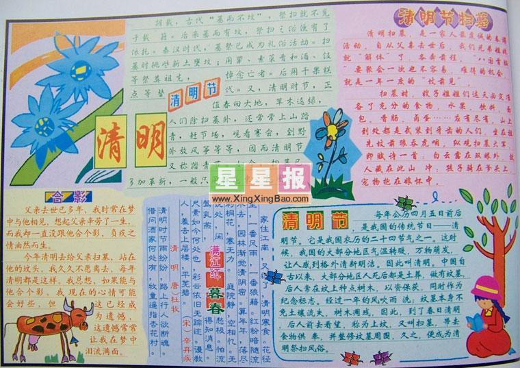 小学生清明节小报设计