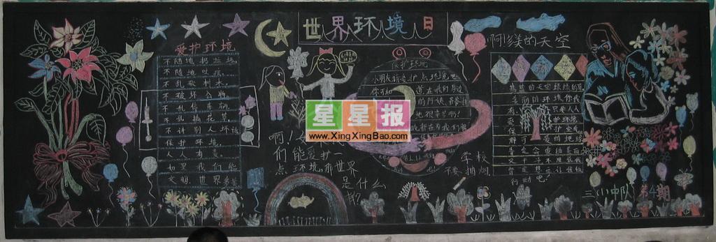 世界环境日黑板报设计图
