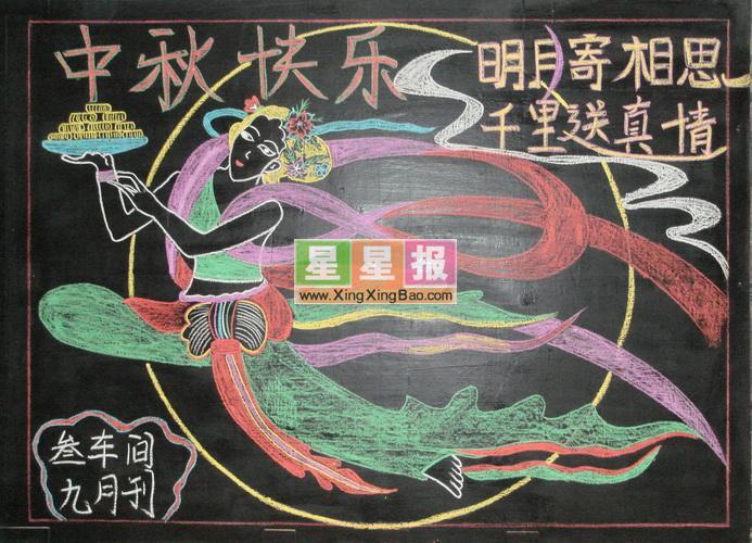 中学中秋节黑板报设计_中秋快乐