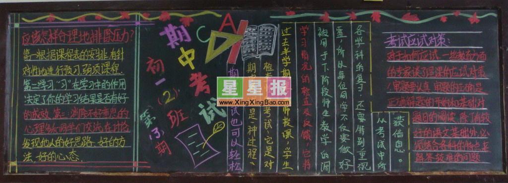 初中期中考试黑板报设计中小学生规范守则图片