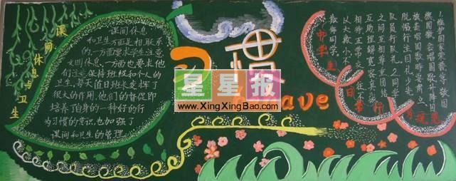 关于习惯主题的板报设计简介:本作品尺寸为641x254像素,由上海市高行中学初二(8)班胡跃清和苗文昨共同制作,黑板报版面设计过程在吴先立老师的指导下完成。 本站推荐节约用水黑板报版面设计图,健康饮食每一天黑板报,小学二年级黑板报_风婆婆,小学生爱生活黑板报设计,校园艺术节黑板报_艺术舞台,国庆节黑板报资料,我喜欢的春天黑板报_找春天,希望你喜欢。 更多资料,请看这里:习惯黑板报!