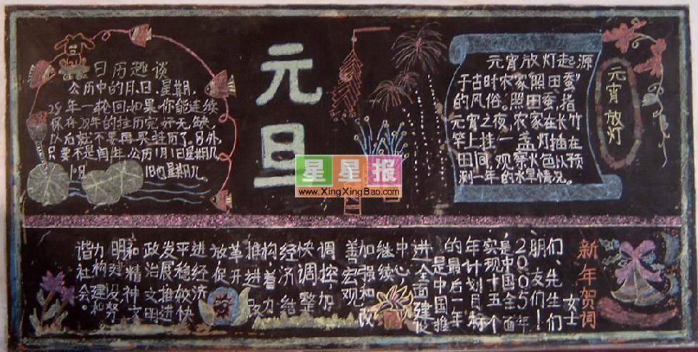 一年级庆元旦黑板报版面设计图