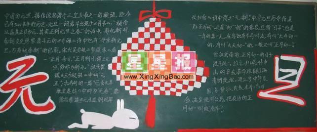 中国元旦黑板报之中国结