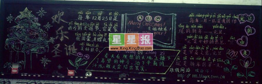 小学生圣诞节黑板报图片