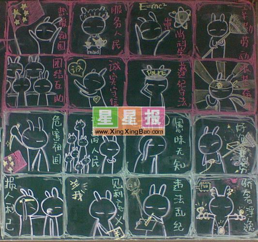 搞笑黑板报设计_兔斯基 - 星星报