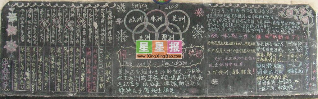 2008奥运会黑板报_同一个世界同一个梦想