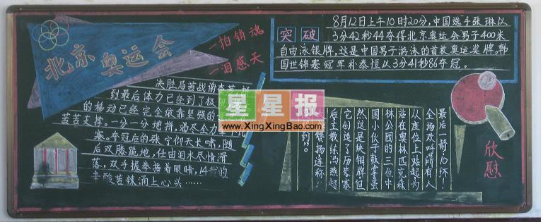 北京奥运会黑板报图片