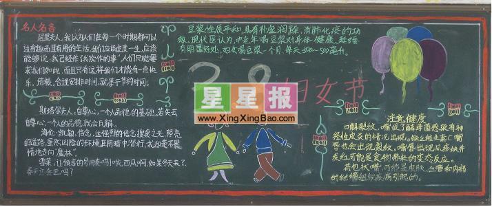 高中38妇女节黑板报版面设计