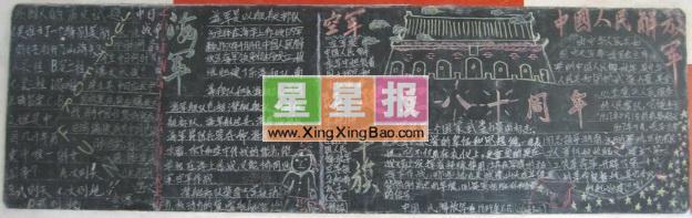 建军周年纪念黑板报设计
