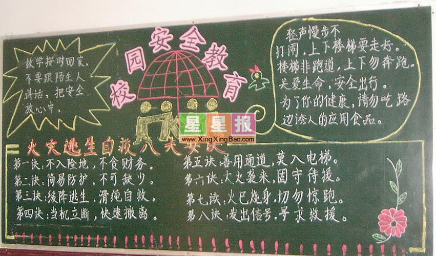 小学生校园安全教育黑板报