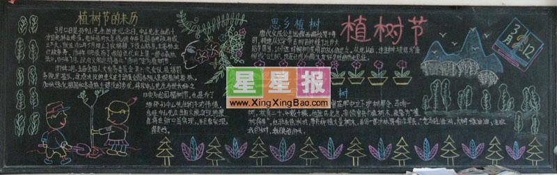 小学生植树节黑板报设计