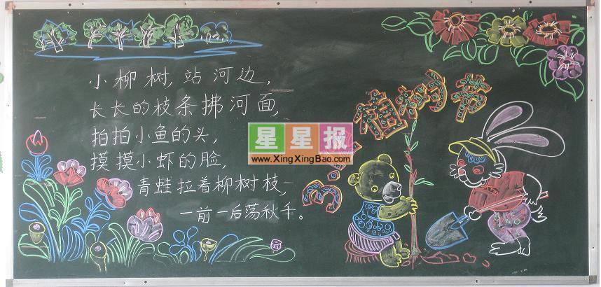 五年级312植树节黑板报图片