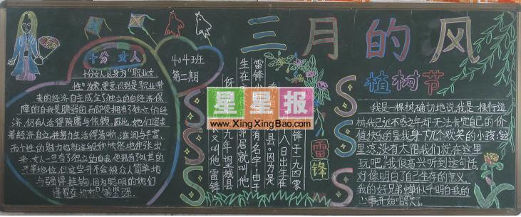 三月的风黑板报(植树节专题)