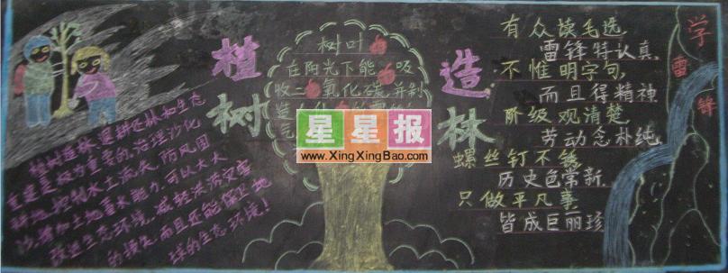 大学生植树节黑板报_植树造林图片