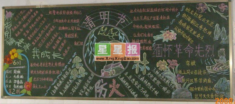 高中清明节黑板报图片