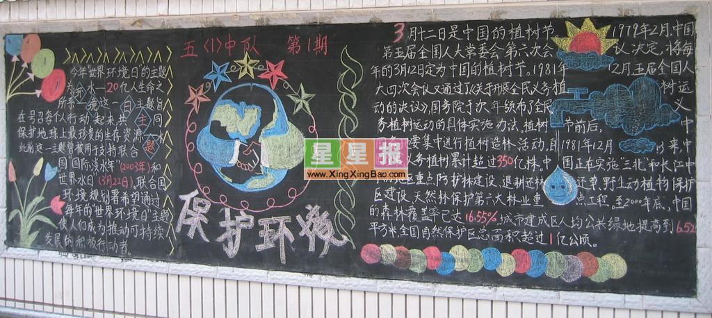 小學生保護環境黑板報設計