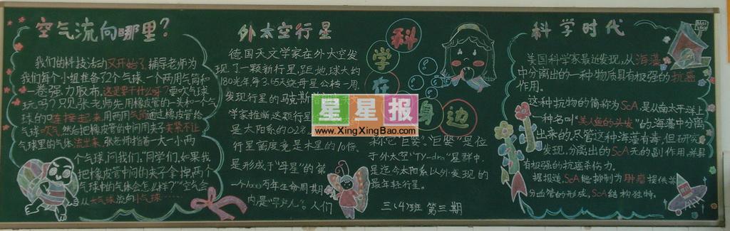 小学生科学黑板报版面设计