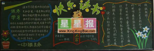 读书节黑板报版面设计图_快乐读书