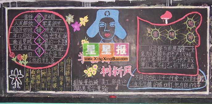中学生学习雷锋黑板报