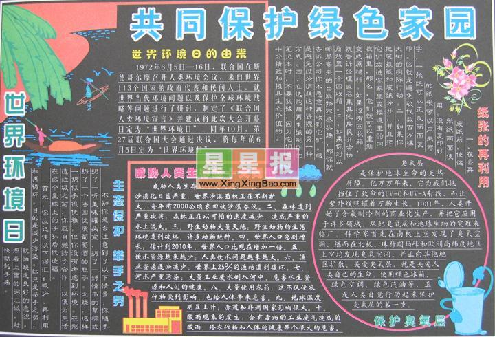 世界环境日黑板报版面设计(初中作品)