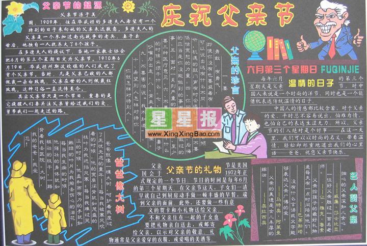 父亲节黑板报版面设计图_庆祝父亲节