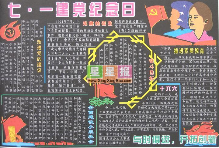 七一建党纪念日黑板报版面设计图