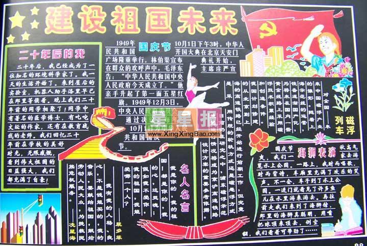 《建设祖国未来》黑板报版面设计图