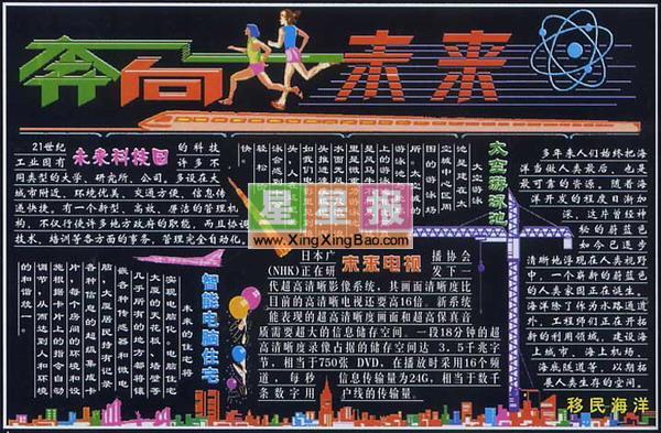 畅想未来黑板报版面设计图_奔向未来