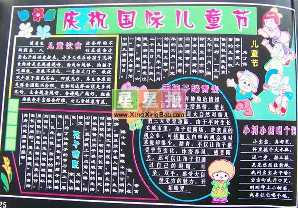 庆祝国际儿童节黑板报设计图