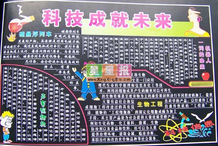 《科技成就未来》黑板报版面设计图