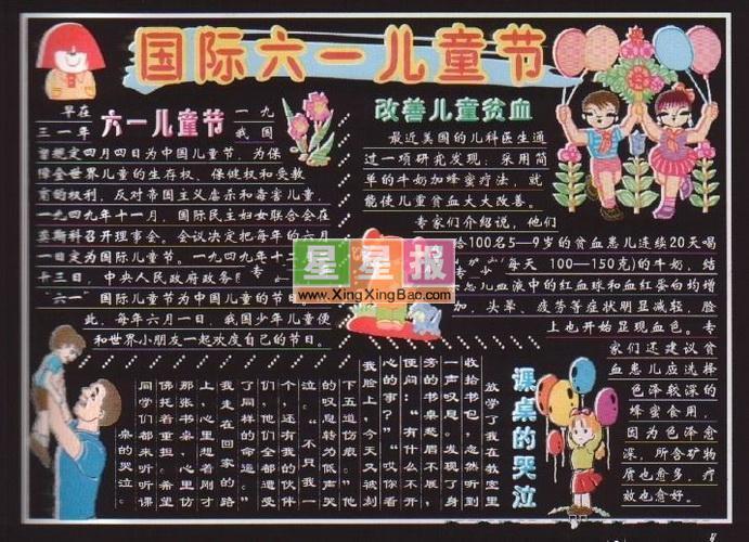 國際六一兒童節黑板報設計圖