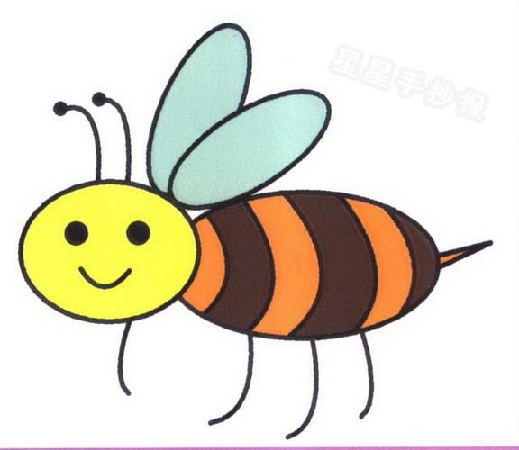 小蜜蜂简笔画图片步骤教程