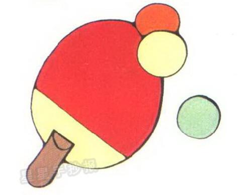 乒乓球和乒乓球拍简笔画