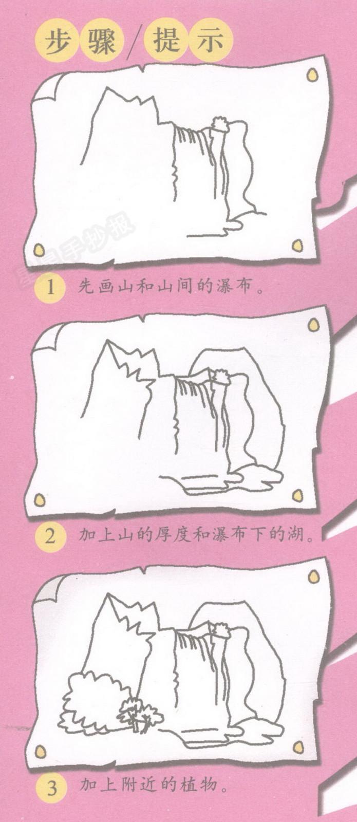 望庐山瀑布简笔画