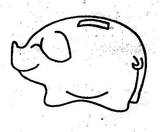 小猪储蓄罐简笔画