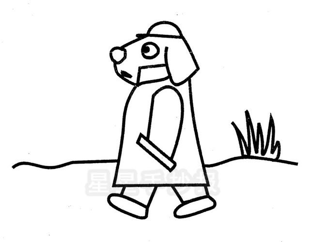 走路小狗简笔画