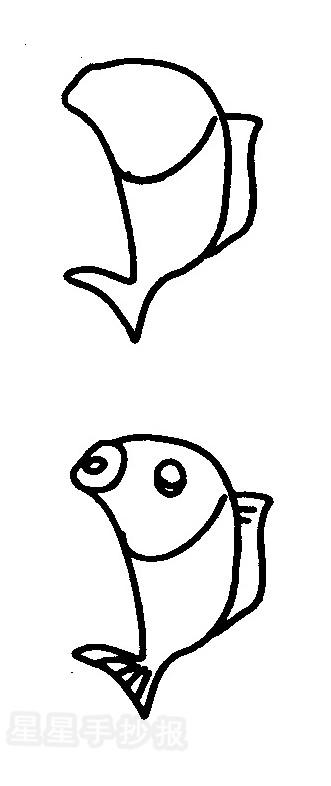 正在钓鱼的鱼简笔画图解一图片