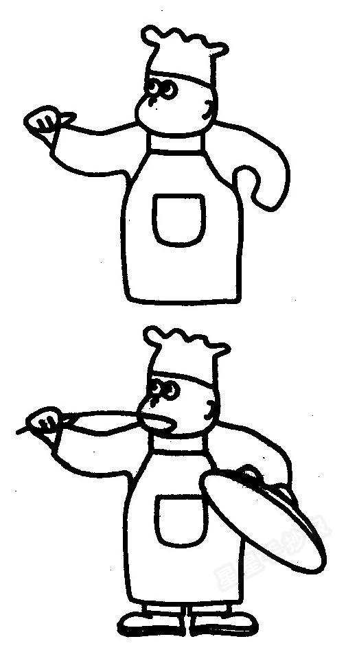 厨师简笔画画法图解二