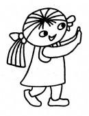 小女孩关门简笔画