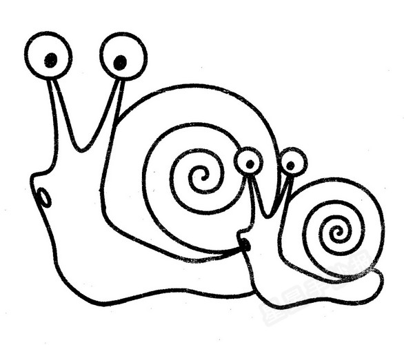 蜗牛简笔画画法教程:蜗牛妈妈和小蜗牛都有自己的小房子