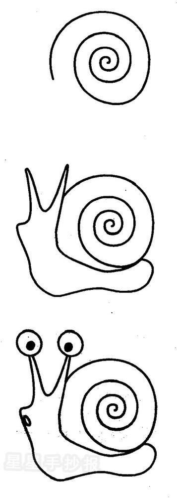 """星星报 简笔画 人物简笔画 >> 正文内容     蜗牛简笔画资料:     """"又"""