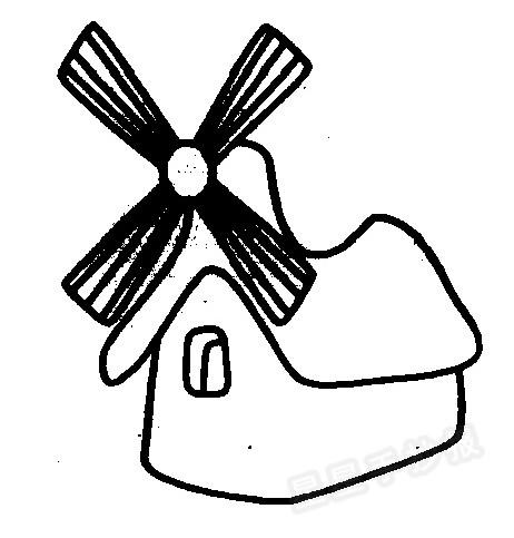 风车磨坊简笔画图片
