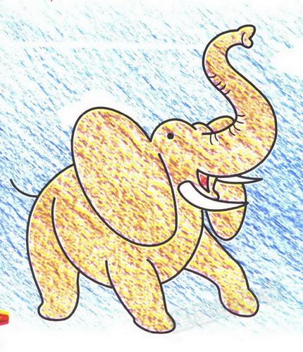 非洲象简笔画图片