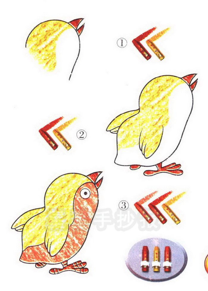 小鸡简笔画简单画法图片