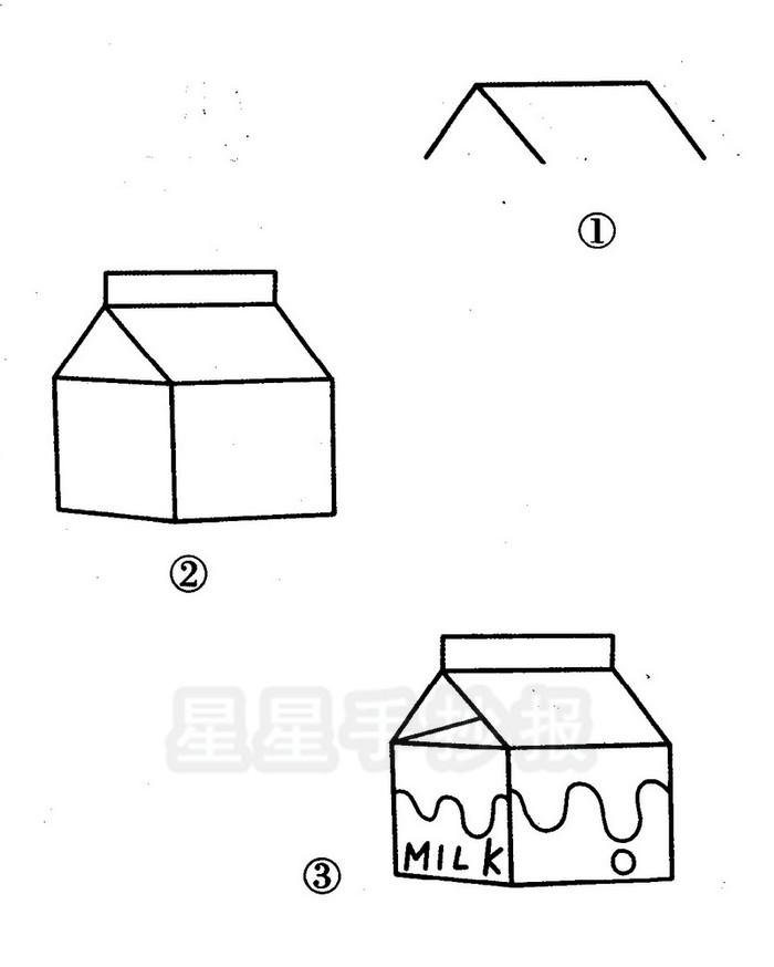 盒装牛奶简笔画图片