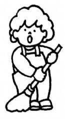 小朋友扫地简笔画