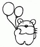 小熊拿着汽球简笔画