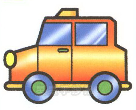 出租车正面侧面简笔画教程