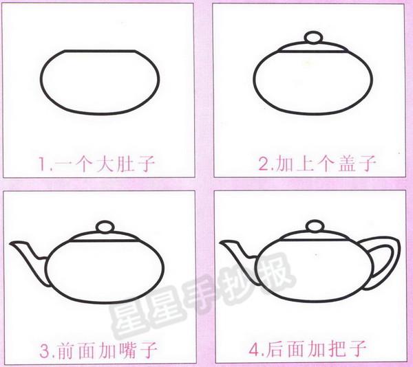 茶壶茶杯简笔画